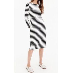 NWT J. Crew Long Sleeve Striped Cotton Dress Sz 4